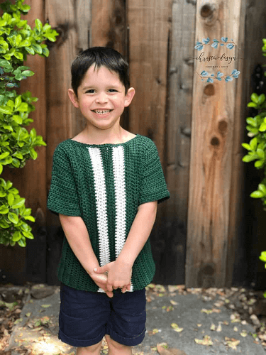 Crochet Kids Racing Tshirt Pattern by Christa Co Design