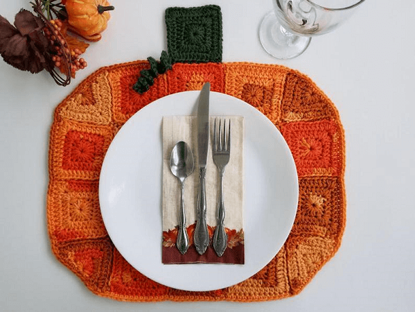 Crochet Pumpkin Placemat Pattern by Highland Hickory Designs