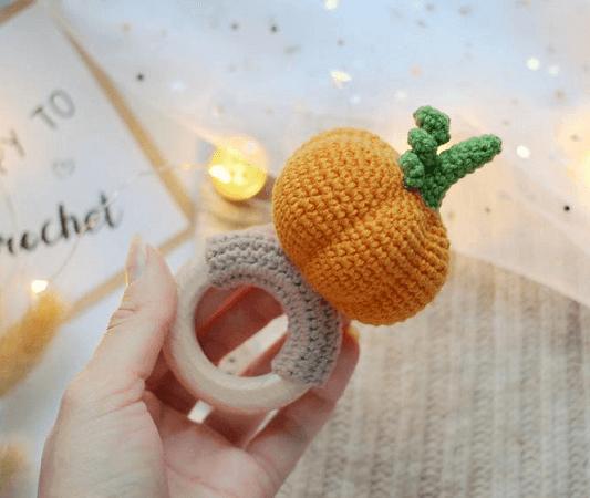Crochet Pumpkin Rattle Pattern by Toys By Knit Friends