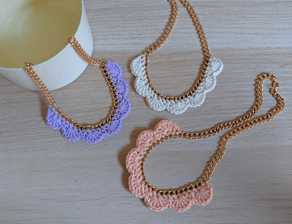 Crochet Scallop Necklace Pattern by The Hook Nook Life