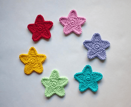 Crochet Star Applique Pattern by One And Two Company