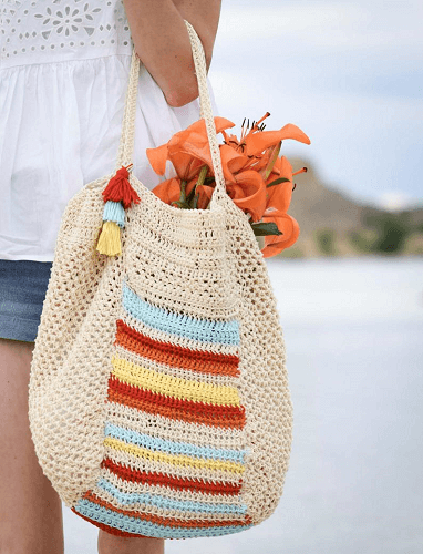 Crochet Summer Tote Bag Pattern by Mama In A Stitch