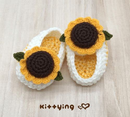 Crochet Sunflower Baby Booties Pattern by Meinuxing