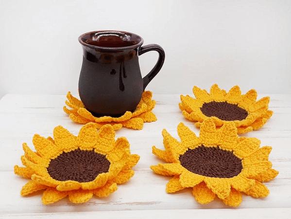 Crochet Sunflower Coasters Pattern by Amigurumi Patterns PDF