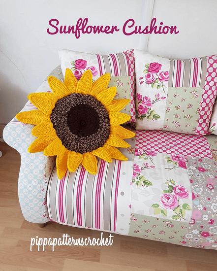 Crochet Sunflower Cushion Pattern by Pippa Patterns Crochet