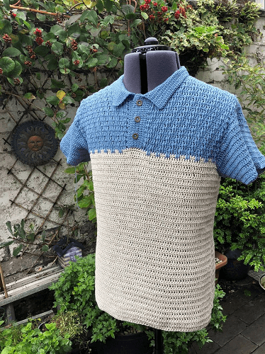 Crochet Textured Polo Shirt Pattern by Seyhall Crochet Design
