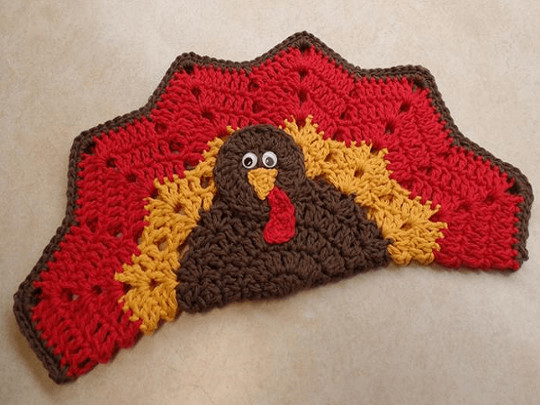 Crochet Turkey Placemat Pattern by Bago Day Crochet