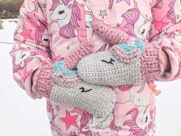Crochet Unicorn Mittens Pattern by Ekay G