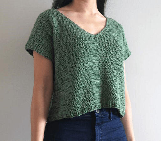 Crochet V-neck Shirt Pattern by For The Frills