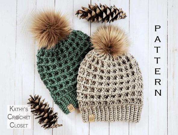 Crochet Winter Beanie Pattern by Kathy's Crochet Closet