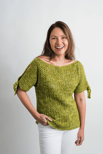 Emmy Tied Sleeve Shirt Crochet Pattern by I Like Crochet