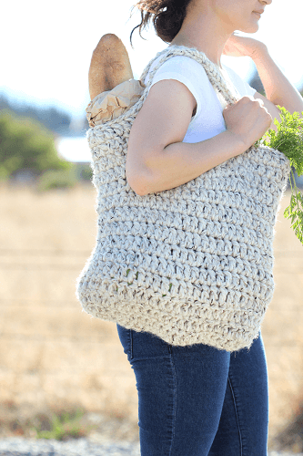Free Crochet Sturdy Market Tote Bag Pattern by Delia Creates