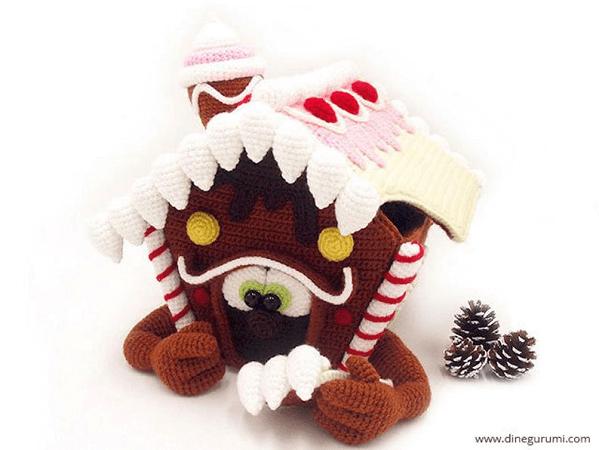Gingerbread House Amigurumi Crochet Pattern by Dinegurumi