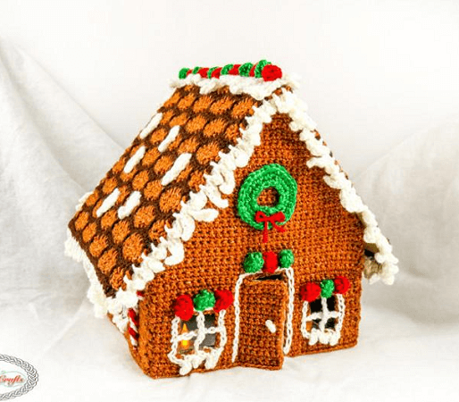 Gingerbread House Free Crochet Pattern by Nicki's Homemade Crafts