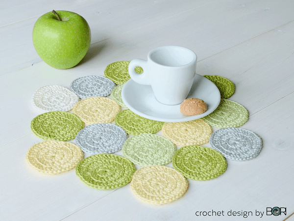 Green Apple Placemat Crochet Pattern by Design By Bori