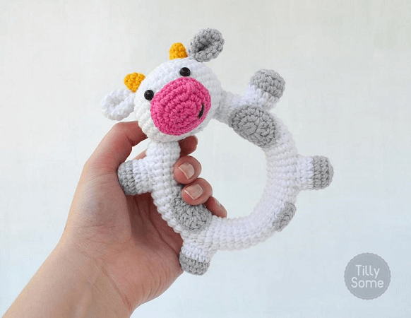 Happy Cow Rattle Crochet Pattern by Tilly Some
