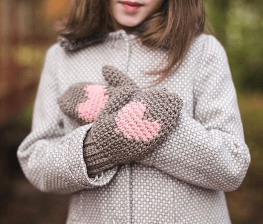 Heart Mittens Crochet Pattern by Teal And Finch