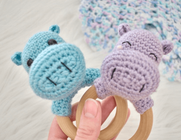 Hippo Rattle Free Crochet Pattern by A Purpose And A Stitch