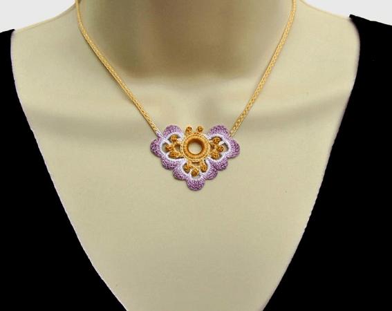 Irish Crochet Necklace Pattern by Fox Stitch Design