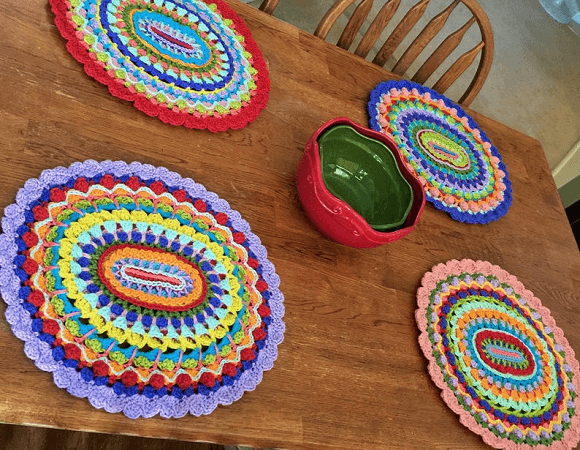 Karmic Mandala Placemats Crochet Pattern by Part Pixy Patterns