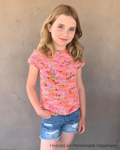 Kid's Basic Tee Crochet Pattern by Hooked On Homemade Happy
