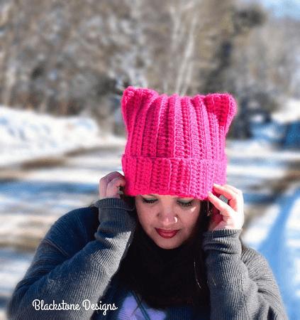 Kitty Cat Hat Crochet Pattern by Blackstone Designs