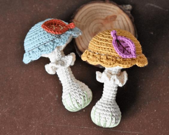 Mushroom Rattle Amigurumi Pattern by Lilleliis