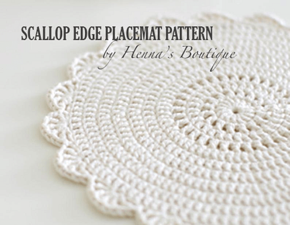 Scallop Edge Placemats Crochet Pattern by Henna's Boutique