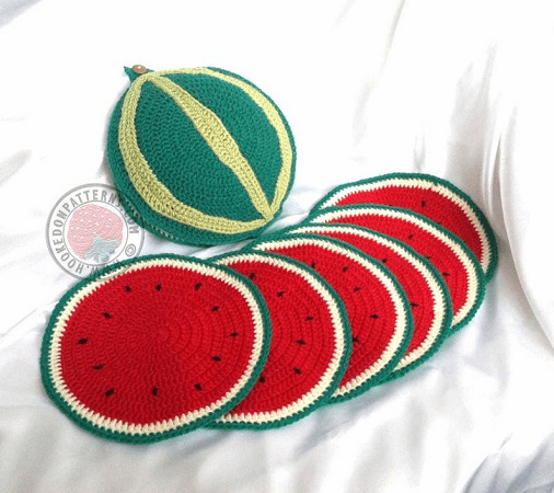 Sliced Watermelon Placemat Crochet Pattern by Hookedo Patterns