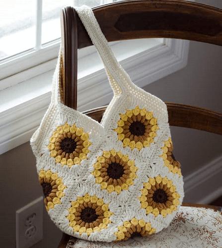 Bag Free Sunflower Crochet Pattern by Crochet 365 Knit Too