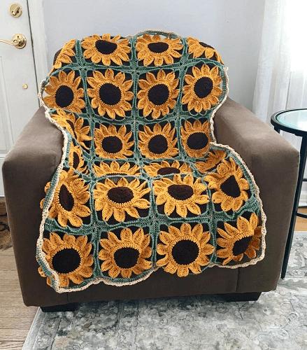 Sunflower Square Blanket Crochet Pattern by Crafty Kitty Crochet
