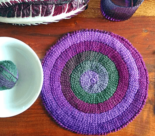 Tunisian Crochet Round Placemat Pattern by Hook Loop Sarah