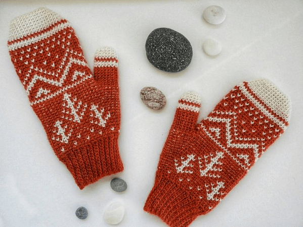 Winter Mountain Mittens Crochet Pattern by Nomad Stitches