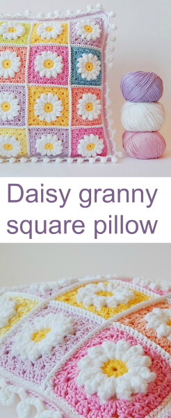Crochet Daisy Granny Square Pillow by Color'N Cream