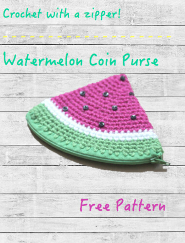 Crochet Watermelon Coin Purse Free Pattern by Repeat Crafter Me