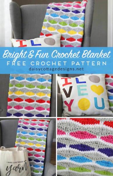 Fun Crochet Blanket Pattern by Daisy Cottage Designs