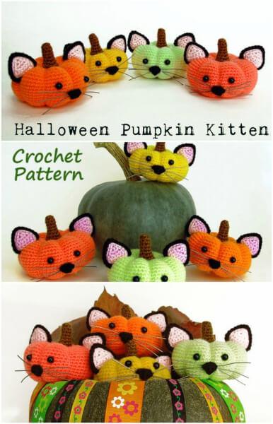 Halloween Amigurumi Pumpkin Crochet Kittens Pattern