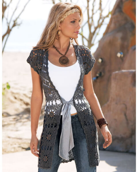 Long Free Crochet Vest Pattern by Natalia Kononova