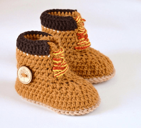 Crochet Timberland Baby Boots Pattern by Matilda's Meadow