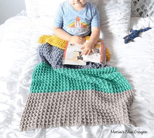 Color Block Crochet Waffle Stitch Baby Blanket Pattern by Maria's Blue Crayon