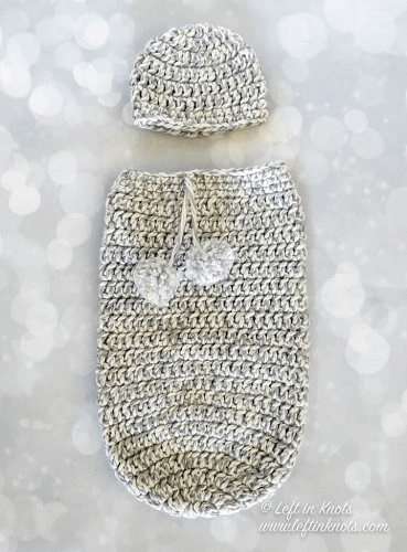 Crochet Baby Cocoon And Hat Set Pattern by Left In Knots