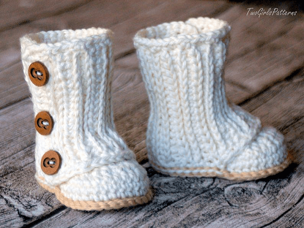 Crochet Baby Wrap Boots Pattern by Two Girls Patterns