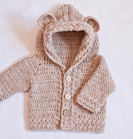 Crochet Bear Hooded Cardigan Pattern by Mon Petit Violon
