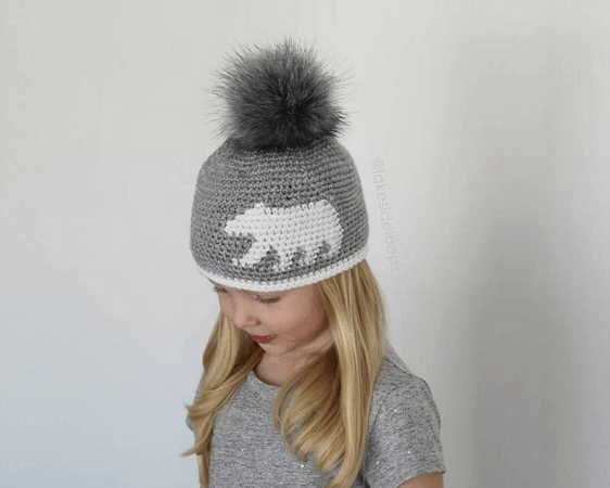 Crochet Bear Silhouette Hat Pattern by Lakeside Loops