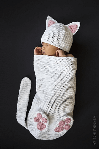 Crochet Cat Baby Cocoon Pattern by Chik Designs