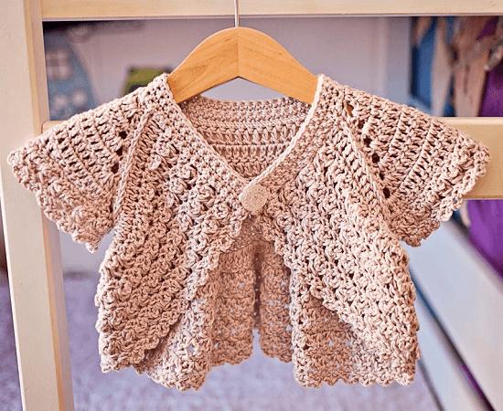Crochet Flutter Sleeve Shrug Pattern by Mon Petit Violon