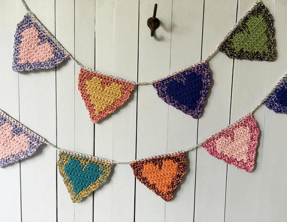 Crochet Hearts Bunting Pattern by Knot Yourself Out