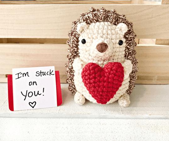 Crochet Hedgehog Valentine Pattern by Crochet To Play