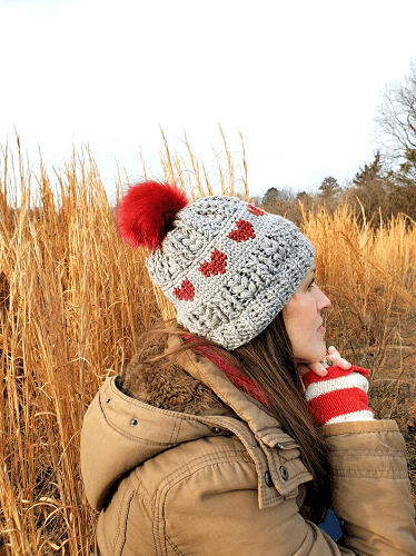 Crochet Puffy Love Hat Pattern by R Crafty Creations