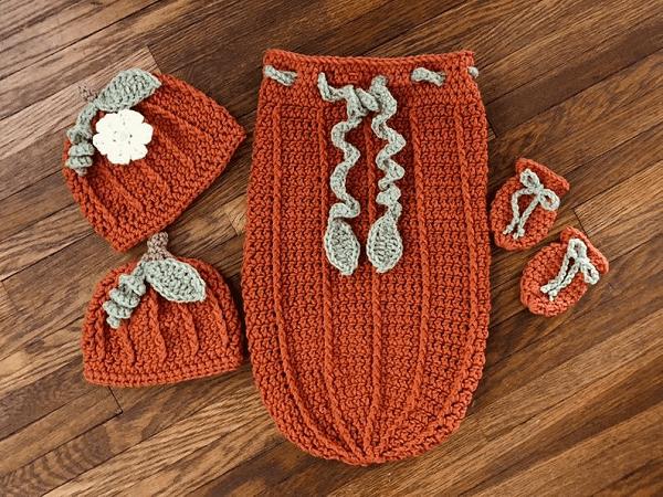 Crochet Pumpkin Baby Cocoon Set Pattern by DAC Crochet